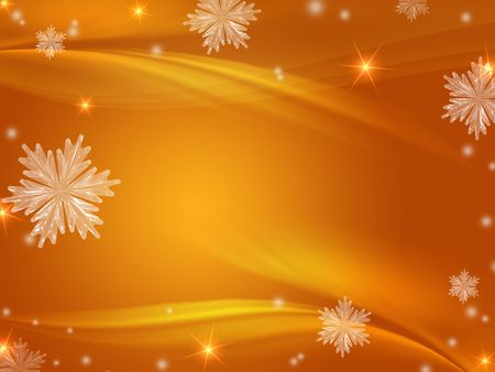 golden christmas background with snowflakes, stars, rays and lights Stock Photo - 7989681