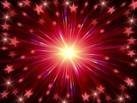 red christmas background with stars, lights and rays Stock Photo - 8238845