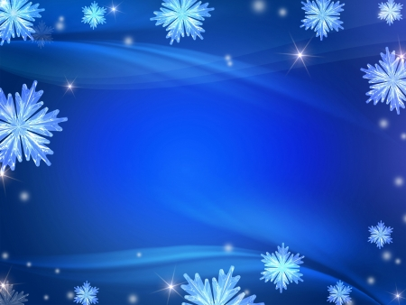 blue christmas background: blue christmas background with crystal snowflakes, stars, rays and lights Stock Photo