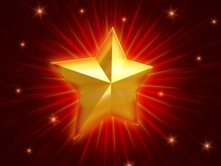 golden christmas star over red background with lights and rays Stock Photo - 8238846