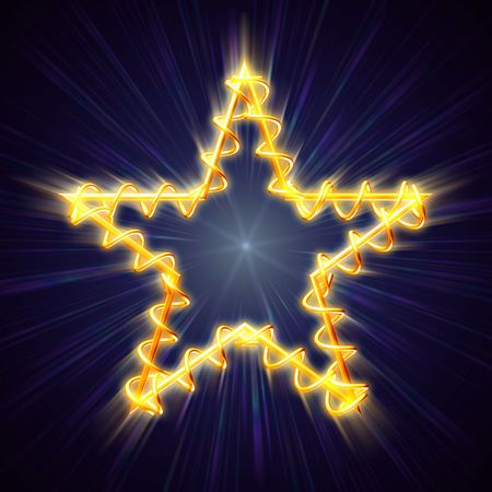 golden christmas star with spiral over blue background with lights and rays Stock Photo - 8238847