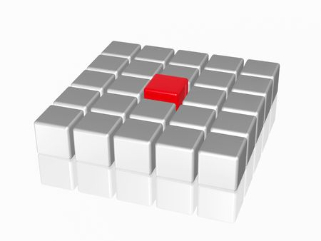 group of 3d white-grey cubes with one big red in the middle Stock Photo - 8238844