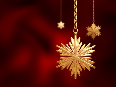three golden christmas snowflakes over red background Stock Photo - 8238853