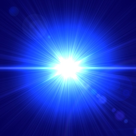 radiate: abstract lens flare light over blue background