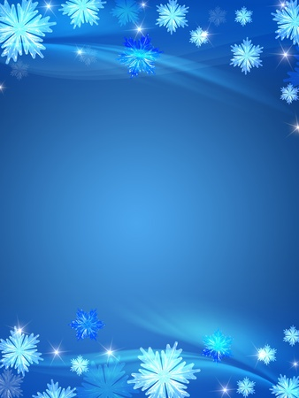 blue christmas background with crystal snowflakes, stars and curves