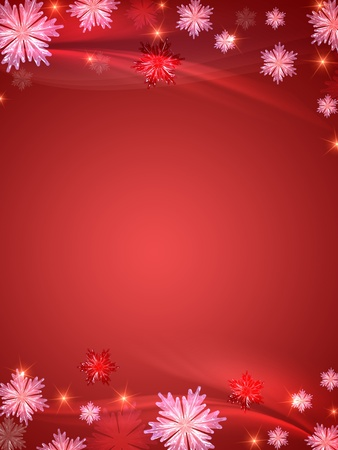 red christmas background with crystal snowflakes, stars and curves Stock Photo - 8316237
