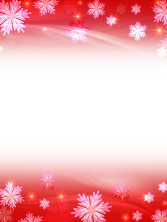 festiveness: white red christmas background with crystal snowflakes, stars and curves