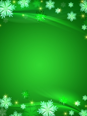green christmas background with crystal snowflakes, stars and curves Stock Photo - 8316235