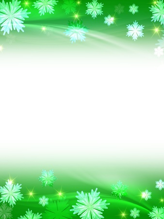 wintriness: white green christmas background with crystal snowflakes, stars and curves Stock Photo