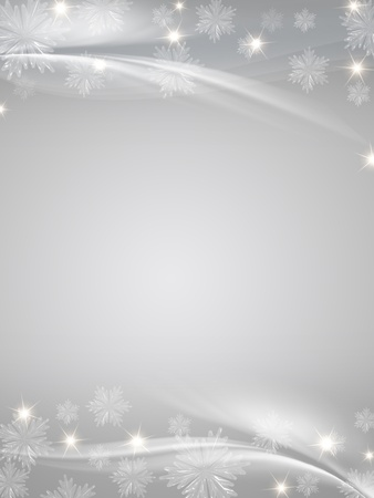 grey christmas background with crystal snowflakes, stars and curves