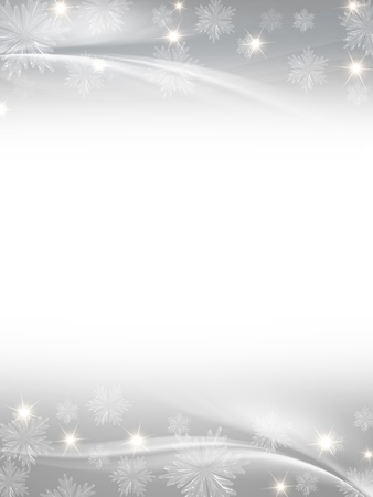 white grey christmas background with crystal snowflakes, stars and curves Stock Photo