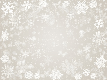 newcomer: white snowflakes over grey background with feather center