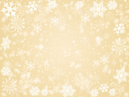 festiveness: white snowflakes over beige background with feather center