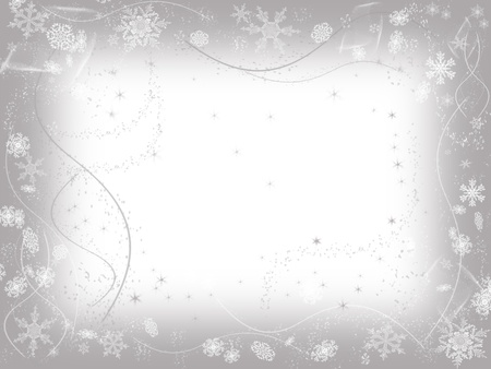 newcomer: white snowflakes over grey frame background with feather center