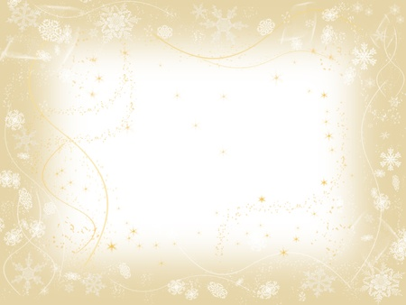 white snowflakes over beige frame background with feather center photo