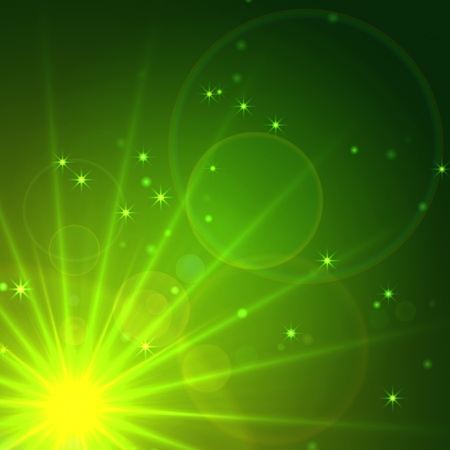 abstract green background with rays, sparkles and lights photo