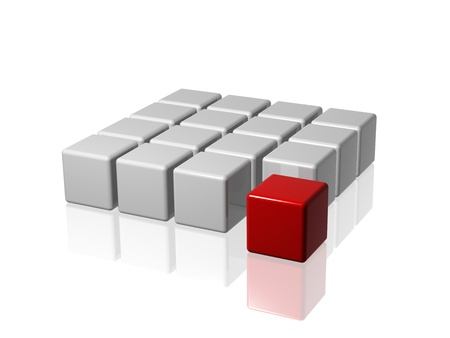 association: arranged 3d white-grey cubes with one red in front of the group Stock Photo