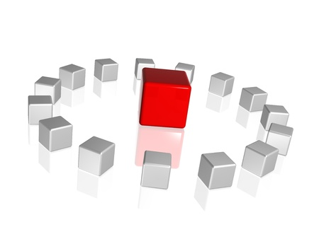 circle of 3d white-grey cubes with one red in the middle Stock Photo - 9865402