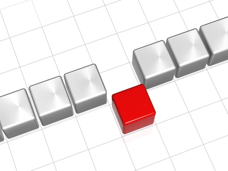 row of 3d white-grey cubes with one red in the middle Stock Photo - 9865407