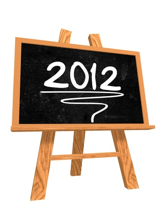 3d isolated blackboard with easel with text - 2012 photo
