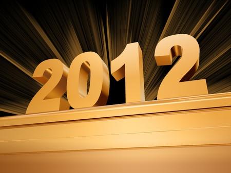 festiveness: golden 2012 with rays over golden base
