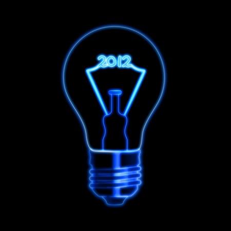 turns of the year: bombilla con cifrados de filamento hace 2012, sobre fondo negro