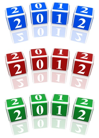 3d blue, red and green cubes with white figures with text 2012 photo