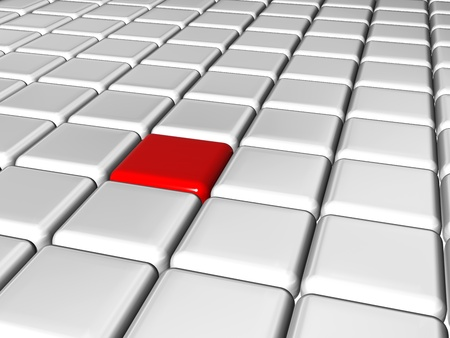 arranged 3d white-grey cubes with one red in the center of the group Stock Photo - 9853217