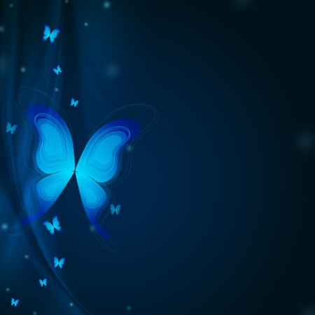 beautiful background with blue butterflys and rays photo