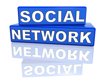 3d blue boxes with text social network Stock Photo - 9843475