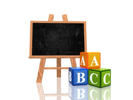 3d wooden blackboard with cubes with letters - abc Stock Photo - 10054990