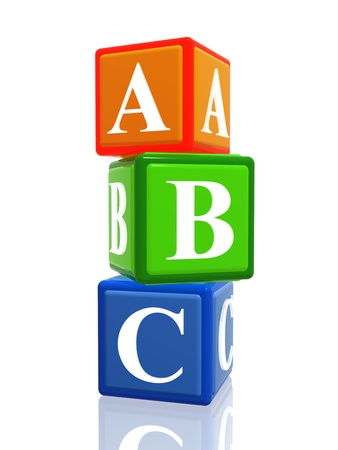 3d colorful cubes with letters abc with reflection photo