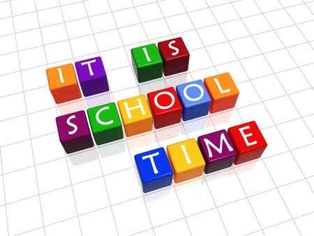 empezar: color 3D cubos con letras blancas con texto: es tiempo de escuela