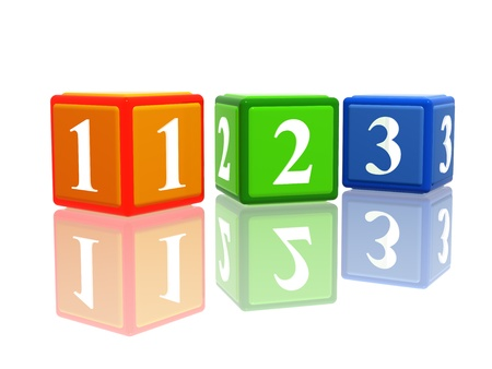 3d colorful cubes with ciphers 123 with reflection photo
