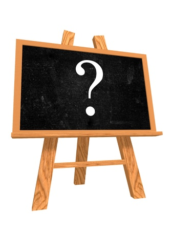 query: 3d isolated blackboard with easel with questions sign