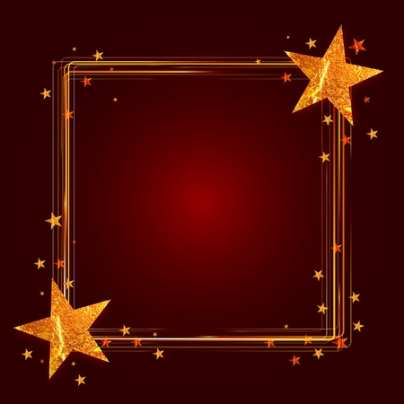 christmas frame with gold stars over red background