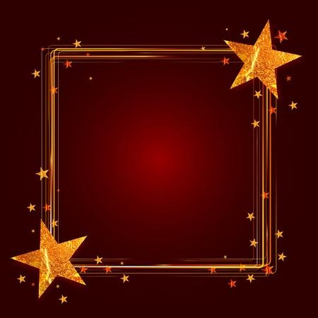 glint: Marco de la Navidad con las estrellas de oro sobre fondo rojo