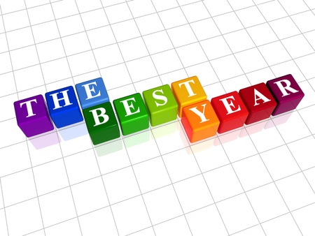 balancesheet: 3d color cubes with white letters with text - the best year Stock Photo