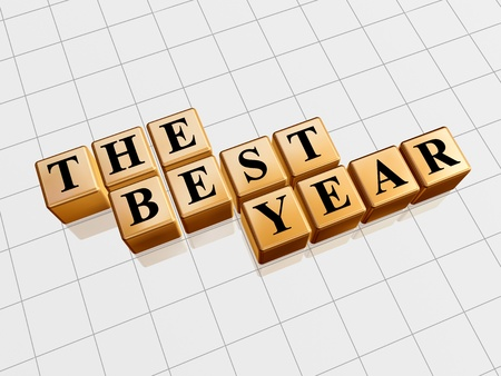 balancesheet: 3d golden cubes with black letters with text - the best year