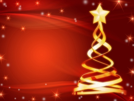 year curve: gold christmas tree over red background with stars