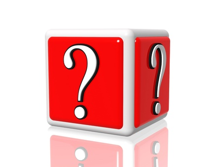 3d white red box with question mark photo