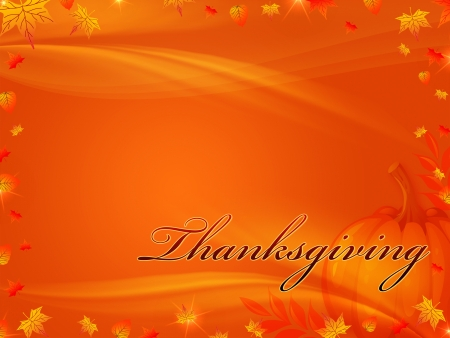 orange background with frame of autumn leaves with text Thanksgiving photo
