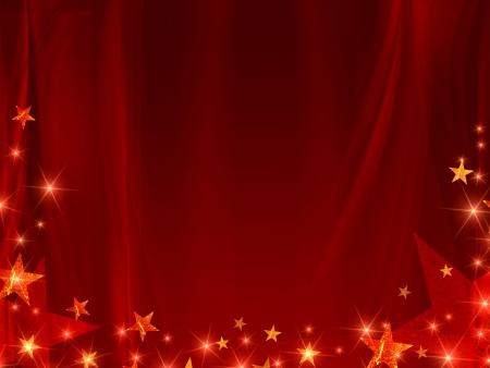 cortinas rojas: fondo rojo con estrellas y la línea curva Foto de archivo