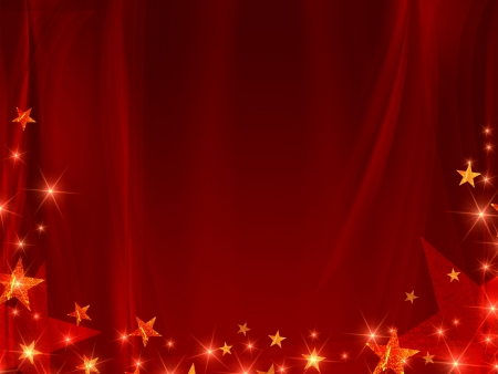 sparkles: red background with stars and curve line Stock Photo