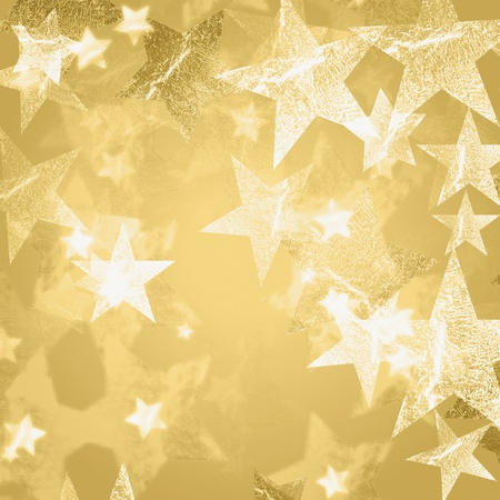 new years eve background: golden and white stars over beige background with feather center