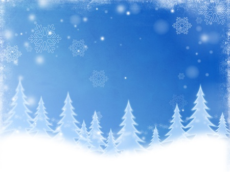 wintriness: christmas trees over blue background with white snowflakes Stock Photo