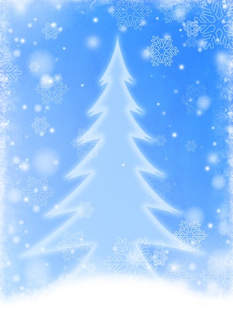 wintriness: christmas tree over blue background with white snowflakes