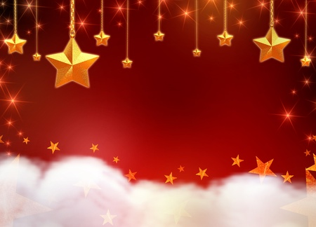 3d golden stars, chains and lights over red background with clouds