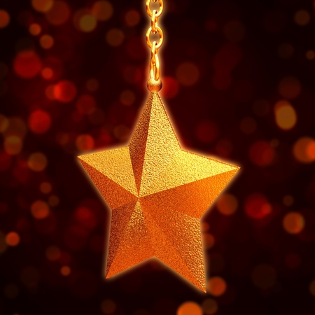 3d golden star with chains over red background photo