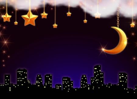 skyscape: skyscape con estrellas y la luna sobre la silueta de la ciudad Foto de archivo